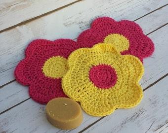 Crochet Wash Cloth, Flower Wash Cloth, Cotton Wash Cloth, Crochet Washcloth, Pink Wash Cloth, Yellow Wash Cloth, Crochet Flower Cloth, Kids