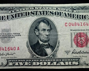 Vintage Lightly Circulated 1953 A Five Dollar Bill red seal note united states banknote currency 1.00 Ship