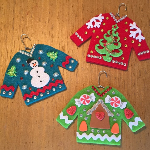 Ugly Christmas Sweater Christmas Tree: Items Similar To 3 Ugly Christmas Sweater Ornaments
