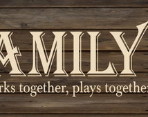 Mother's Day Gift - The Family Farm Where Work, Play, Life Together Wood Sign Canvas  Wall Art- Mother's Day, Christmas, Father's Day, FFA,