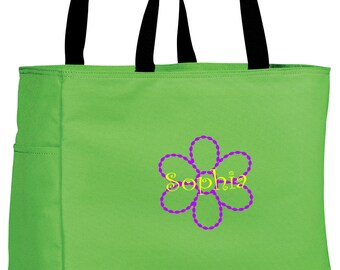 Personalized Tote Bag Embroidered Tote Bag Custom Tote Bag - Sports - Flower - B0750