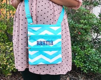 Many colors! Monogrammed Crossbody Bag, Messenger Bag, Hipster Bag, Chevron Bag, Monogrammed Messenger Bag, Teal Bag, Pink, Bag, Gray Bag