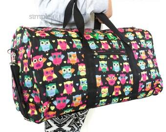 OWL DUFFLE Bag, Girls Duffle Bag, Girls Overnight Bag, Owl Overnight Bag, Owl Carry On Bag, Carry on Luggage, Girls Luggage, Women Duffle