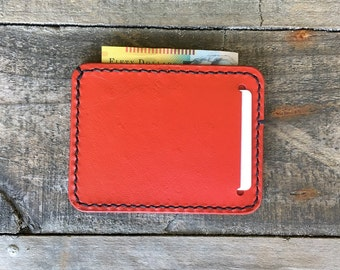 Thin Minimalist Kangaroo Leather Wallet, Can be Personalized, Slim Leather Wallet, The Bondi Wallet, Red Leather Wallet