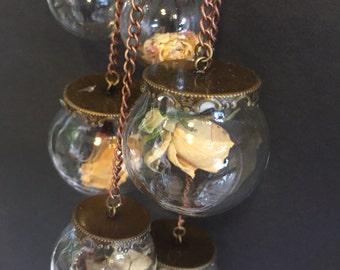 mobile terrarium, cream Roses, moss,glass, antique bronze