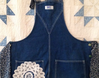 Adult Upcycled Denim Overall Apron. Recycled Overall Apron. Blue Denim Kitchen Cooking Apron. Denim and Lace for the Chef! Gift for Mom!