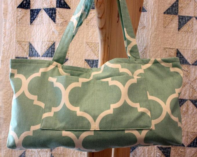HALF PRICE ** Aqua Canvas Diaper Bag. Seafoam Geometric Print Tote Bag. Lined Reusable Bag. Large Tapestry Purse. Huge Pockets