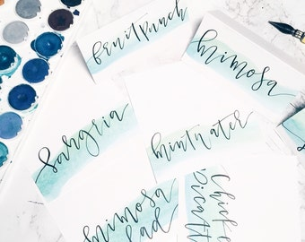 Wedding Water Color + Calligraphy Place Cards