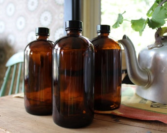 3 Brown Pharmacy Bottles, Amber Bottles, Apothecary Decor, Brown Medical Bottles for Your Rustic Farmhouse, Drug Store Collectible
