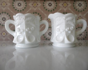 Vintage Milk Glass Sugar and Creamer Set, Westmoreland Milk Glass Sugar and Creamer, Cherry Thumbprint, Like New with Sticker
