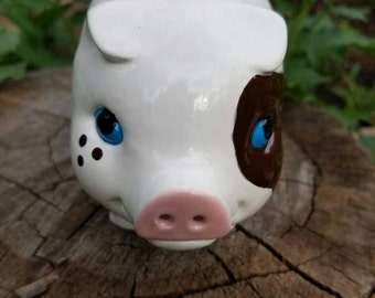 New Vintage Style Piggy Bank - White with Brown spots  - No hole in the bottom