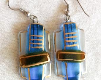 Vintage 1990s Earrings Handmade Glass Blue Gold Brown
