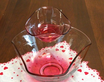 Cranberry Ruby Red Flash Luster Glass Three piece Chip and Dip Set