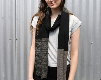 Neutral merino wool scarf, knitted scarf, woolen scarf - black and taupe