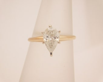 1.05 Carat Pear Cut Diamond Solitaire Engagement Ring 14K Yellow Gold