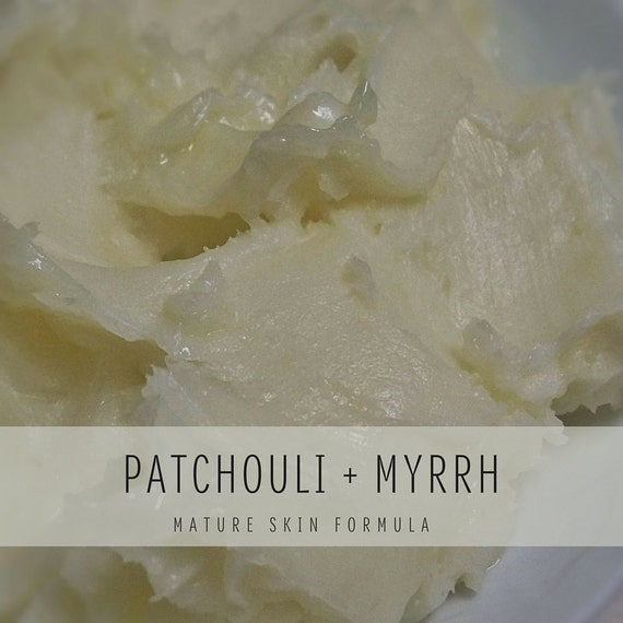 Patchouli + Myrrh Whipped Body Butter, Mature Skin Formula with Shea Butter and Organic Coconut Oil, Small Batch Body Butter,