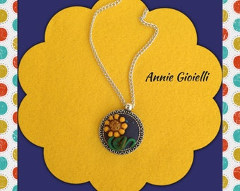 Sunflower-flower pendant necklace-polymer clay Pendant-Gift Idea-sunflower sunflower Pendant-Necklace in fimo long necklace