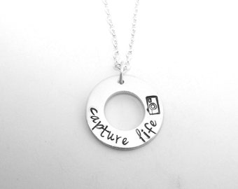 Capture Life (Camera) Washer Necklace - Hand Stamped Necklace