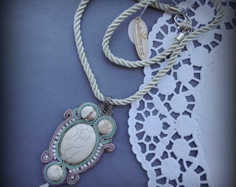 SALE! necklace  soutache natural stone,  and glass beads - howlit
