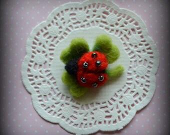 brooch felt felted ladybug