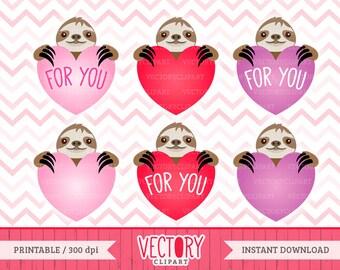 6 Cute Sloth Love Clipart Set, Sloth Clipart, Sloth Valentine, Sloth Clip Art, Love Sloths Set by VectoryClipart