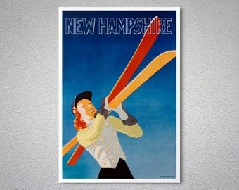 New Hampshire - Vintage Skiing Travel Poster - Poster Print, Sticker or Canvas Print