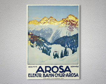 Arosa Switzerland Travel Poster - Poster Print, Sticker or Canvas Print
