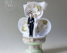 art deco wedding cake topper unique deco cake topper related items etsy 10838