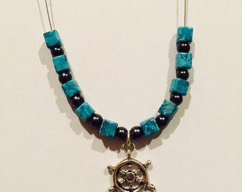 Helm / Ship Wheel Charm Necklace w/ Turquoise Beads