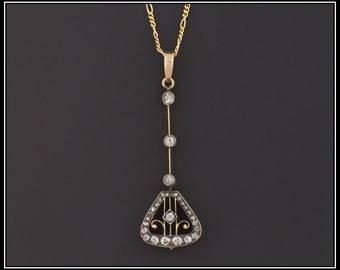 Antique Diamond Necklace | Diamond Bridal Necklace | Silver Topped 14k Gold Necklace | Antique Wedding Necklace |  Diamond Bridal Jewelry