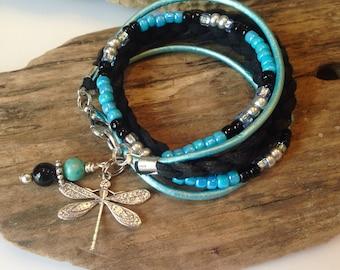 Boho Bracelet, Beaded Boho Wrap, Double Wrap, Soft Suede Braided Black, blue, Silver, Choose Your Charm, Custom Wrap Bracelet