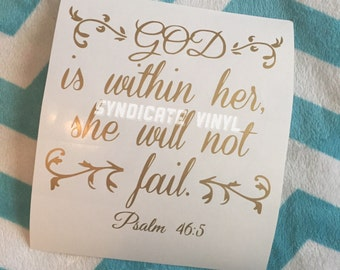 God is within Her Psalm 46:5 Bible verse Decal