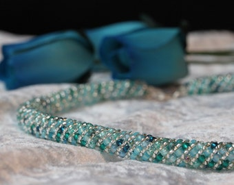 Aqua and Teal Russian Spiral Necklace