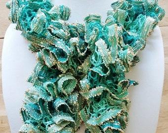 Crochet Greenery Ruffle Scarf, Summer, Metallic Scarf,  Lacy Scarf, Fashion Scarf, Sashay Scarf, Decoritive Scarf, Neck Decor, Gift For Her,