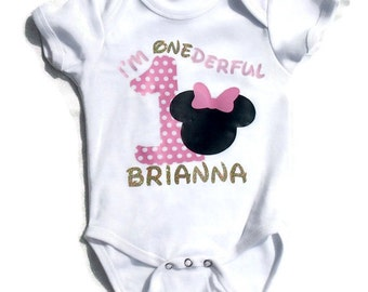 First Birthday shirt - Minnie Mouse Birthday shirt - I'm Onederful - first birthday party ideas - Minnie birthday party - smash cake outfit