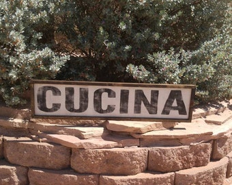 Cucina Sign, Italian Kitchen Sign, Rustic Decor, Wood Cucina Sign, Custom Wood Sign, Kitchen Sign, Framed Wood Sign, Rustic Kitchen Sign