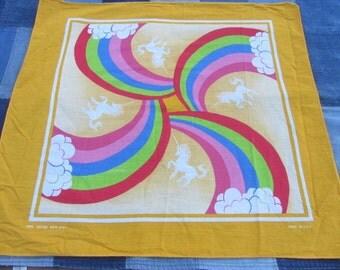 Vintage Unicorn Bandana Handkerchief Rainbows Clouds Yellow Cotton