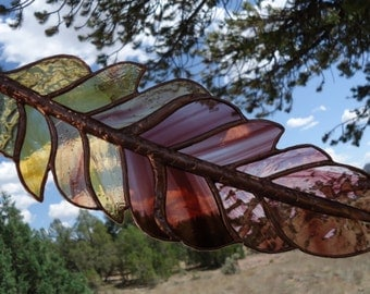 """stained glass window panel"""" GHOST DANCE FEATHER""""shimmering ripples, hand blown glasses, stained glass feather, stained glass sun catcher"""