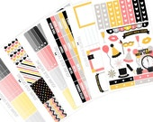 Pink, Grey, Yellow and Black New Years Sticker Planner Kit. Perfect for Erin Condren, Happy Planner, Plum Paper, or Kikki K Planners!