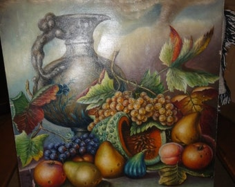 Vintage Stil Life On Canvas/Signed M. Namian/ Vase/Grapes/ Watermelon/Pears/ Fruit/Leaves