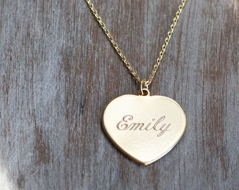 Valentines Day, Personalized heart necklace initial engraved gold silver dainty name bridesmaid gift birthday anniversary gift