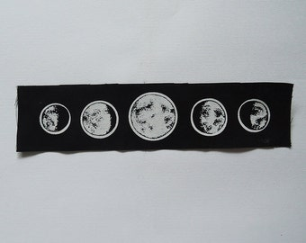 Lunar cycle patch (sew on) - Moon phases occult handmade screenprinted backpatch, black metal