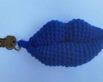 Crochet Lips Keychain/Keyring. Blue. Amigurumi lips Keychain/keyring.