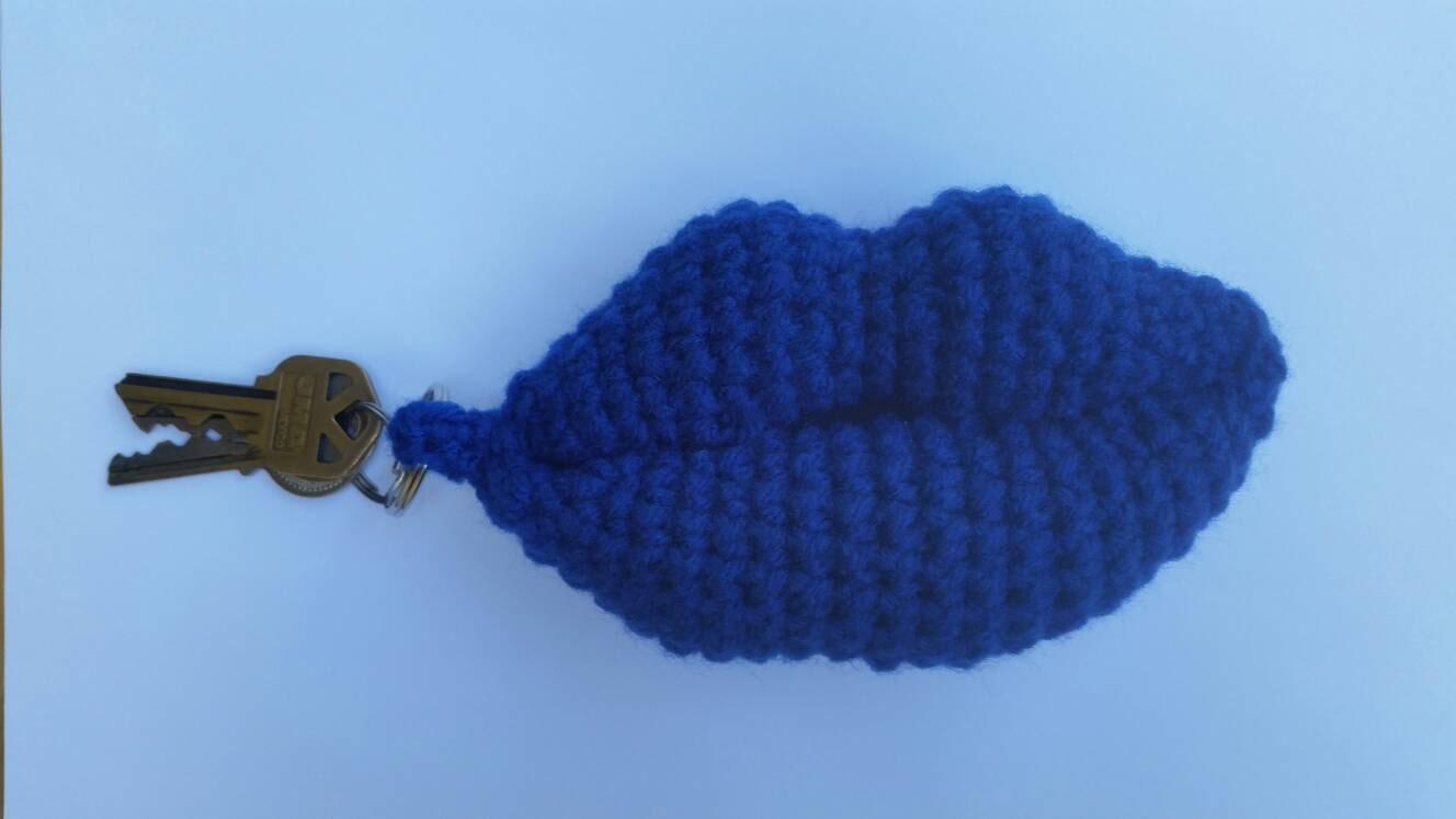 Crochet Lips Keychain/Keyring. Blue. Amigurumi lips