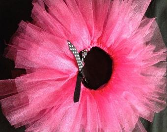 pink tutu with black/white polka dot bow