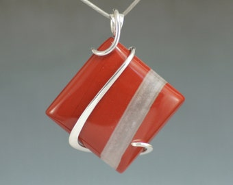 Red Jasper Square Cold Forged Sterling Silver Pendant