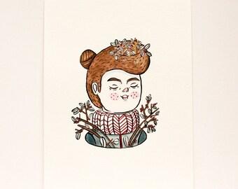 Original painting - Garden woman -  Portrait - Gouache illustration.