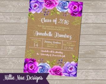 SALE 75% OFF Custom Watercolor Floral Graduation Invitation