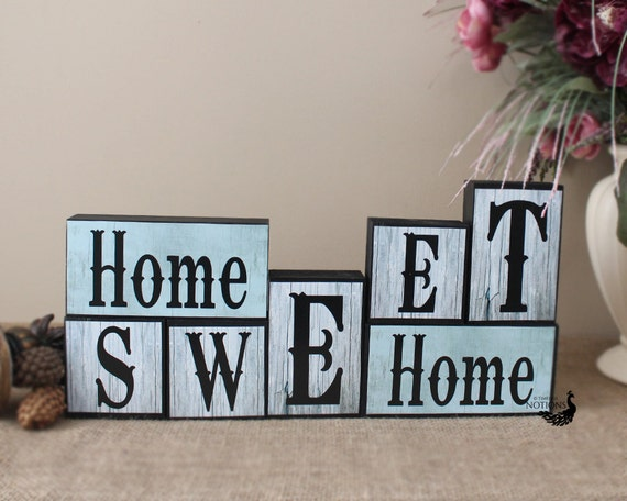 Home sweet home wood blocks mantle decor wooden by for Deco home sweet home