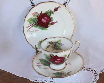 Vintage Roslyn Trio ~ Bone China Teacup Saucer Plate ~ Wheatcroft Roses No 2 Grand Gala ~ High Tea Wedding Gift for Her